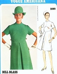 1960s Classy Bill Blass A Line Dress Pattern Vogue Americana 2099 Front Inverted Pleat Bust 32.5 Factory Folded Vintage Sewing Pattern