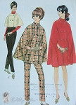 1960s Mod Cape Coats Pattern Very Dior Styles in 3 Lengths Includes Straight Leg Pants UNCUT Bust 31