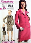 1960s  Mrs Emma Peel Style 3 PC Suit Pattern Slim Skirt, Fitted Cutaway Front Jacket, and Vest Classic Mid 60s Style Simplicity Designer Fashion 6688 Vintage Sewing Pattern Bust 32