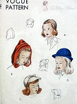 1940s Childrens Hats Pattern 4 Cute Little Girl Styles Including Hood, Calot, Cap and Brimmed Hat Vogue 2483 Vintage Sewing Pattern