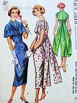 1950s Lovely Evening Cocktail Party Dress Pattern Empire Bodice Sheath, Shirred Bodice and Shoulders,Eye Catching Flowing Back Panels, Cape Jacket McCalls 3952 Vintage Sewing Pattern Bust 32
