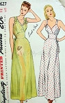 1940s PIN UP Style Nightgowns Lingerie Pattern SIMPLICITY 1627 Glam Surplice Bodice Figure Flattering Bias Cut Vintage Sewing Pattern Bust 34