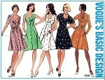 1970s  Front Button Dress Pattern Princess Seamed U Shape Neckline Flippy Skirt Style 5 Versions Vogue Basic Design 1028 Vintage Sewing Pattern UNCUT Bust 31.5