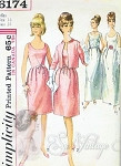 1960s  Lovely Cocktail Dress or Evening Gown With Jacket Pattern Classic Bell Shape Skirt,Low Scoop Necklines, Very Doris Day Mad Men Style Simplicity 6174 Vintage Sewing Pattern Bust 32