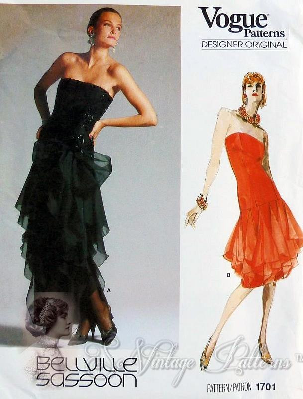 Vogue 1584 Sz 16 vintage sewing pattern in original folds Women/'s Sheath Style Cocktail Evening Dress by Bellville Sassoon