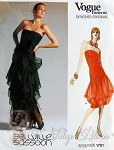 1980s Vintage Bellville Sassoon Evening Gown Cocktail Dress Pattern Strapless Long Torso Flounced Ruffled Skirt Pure Glam Vogue 1701 Designer Original Pattern UNCUT Bust 31.5