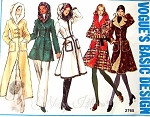 1970s Fab Coats Pattern Five Styles and Lengths Includes Hoodie Version,Patch Pockets Figure Flattering A Line Fitted,Contrast Lining Vogue Basic Design 2765 Vintage Sewing Pattern Bust 34