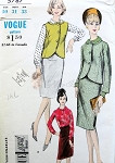 1960s 3 PC Suit Pattern Cutaway Front Jacket or Vest, Slim Pencil Skirt, Tuck In Blouse Vogue 5787 Special Design Vintage Sewing Pattern Includes Sew In Label  UNCUT Bust 31