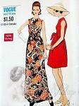 1960s MOD Wrap n Tie Evening Dress or Gown Pattern VOGUE 7545 Unique Style Jewel Neckline Dress in 2 Lengths Vintage Sewing Pattern Bust 32.5 UNCUT