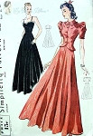 1930s Stunning Evening Gown and Jacket Pattern Sculptured Bodice Sweetheart Neckline,Very Full Dancing Skirt Simplicity 3163 Vintage Sewing Pattern Factory Folded Bust 36