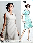 1960s  CLASSY Bill Blass Vogue Americana 2156 Vintage Sewing Pattern Beautiful Scalloped Surplice Bodice High Waist A Line Dress Day or Evening Bust 34 Vogue Sew In Label UNCUT