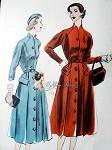 1950s Striking Coat Dress Pattern Unique Notched Neckline Front Button Flared Skirt Vogue 7504 Vintage Sewing Pattern Bust 32 Factory Folded