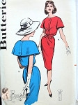 Late 1950s Mad Men Style Slim Dress Pattern  Lovely Cape Effect Sleeves Butterick 9591 Vintage Sewing Patterns UNCUT Bust 36