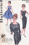 1960s Stunning Dress Pattern Butterick 9563 Eye Catching Neckline Day or Evening Sheath or Full Skirt Dress With Waist Flattering Cropped Short Jacket Vintage Sewing Pattern Bust 38
