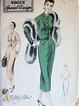1950s Fashionable Slim Dress Pattern Easy Day or after Five Dress Built Up Neckline, Fitted Front Button Bodice, Slight Hip Draping Vogue Special Design 4449 Vintage Sewing Pattern  Bust 34