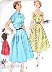 1950s Charming Dress and Bolero Jacket Pattern Full Skirted, Flattering Square Neckline, Cutaway Front Bolero McCalls 9328 Vintage Sewing Pattern Bust 32