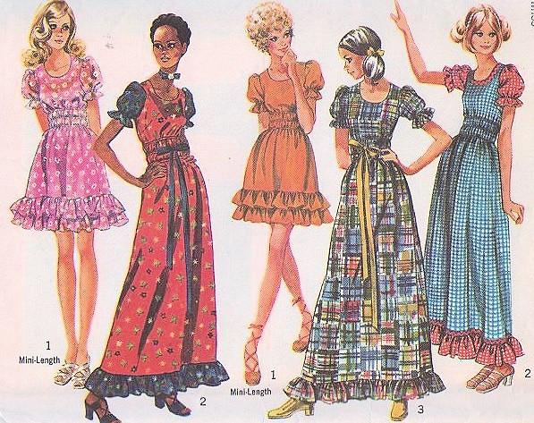 47ecd749cde 1970s Peasant Dress or Maxi Boho Lolita Style Simplicity 9403 ...