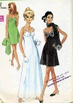 Mod 60s UNIQUE Evening Party Slip Dress and Scarf Pattern Interesting Bra Bodice Style, Mini or Maxi Lengths Simplicity 8544 Vintage Sewing Pattern UNCUT