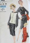 1960s Mad Men Sleeveless Jacket, Slim Skirt and Blouse Pattern Day Office To Cocktails Vogue 5956 Vintage Sewing Pattern UNCUT Bust 34