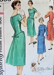 1950s Enticing Cocktail Dinner Dress Pattern Slim Dress With Back Interest, Long Line Bodice, 2 Necklines Detachable Neck and Sleeve Trim Simplicity 1853 Vintage sewing Pattern Bust 35