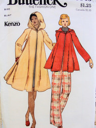 70s Kenzo Flared Swing Coat With Hood Pattern Two Lengths Fully Flared Coat or Jacket Butterick 3345 Vintage Seventies Sewing Pattern Bust 31.5