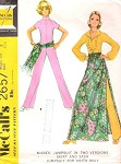 1970s London Girl  Bohemian Style Jumpsuit Skirt and Sash Vintage Pattern McCalls 2657 UNCUT Bust 34