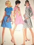 1960s Vintage McCalls 2193 Sewing Pattern Mod Dress Three Style Versions And Scarf UNCUT Bust 32.5