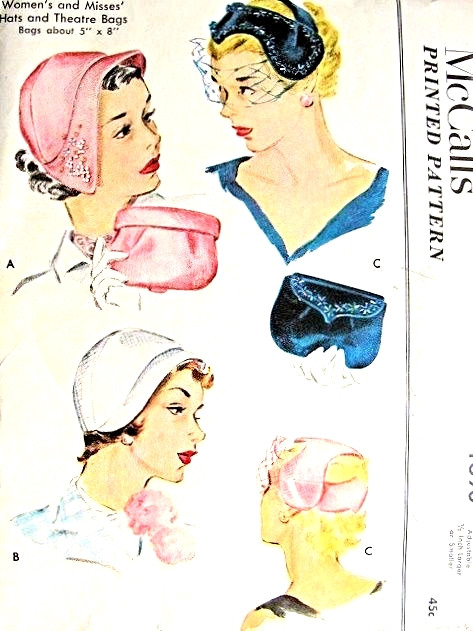 1950s Lovely Hats Fascinator and Evening Theatre Bags Pattern ... 74d88682ade