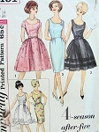 1960s Mad Men Era Cocktail Evening Dress Pattern Four Season After Five Wardrobe Slim or Full Skirts Scoop Necklines Simplicity 4491 Vintage Sewing Pattern Bust 34