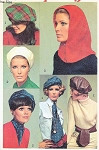 1960s Mod Hats Pattern Simplicity 7872 Vintage Sewing Pattern Berets, Hood Ascot or Sash Fashion Accessories UNCUT FACTORY FOLDED