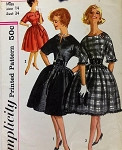 1960s Mad Men Rockabilly Dress Pattern Beautiful Full Skirt, 2 Necklines 3 Style Versions Simplicity 3599 Vintage Sewing Pattern Bust 34