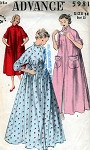 1950s Beautiful Housecoat Robe Peignoir Lingerie Pattern 3 Style Versions  Advance 5981 Vintage Sewing Pattern Bust 32