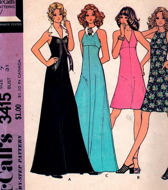 b534a438fbc 1970s Really Cute Halter Dress or Maxi Gown, Flirty Detachable ...