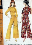 1960s Pant Dress Jumpsuit Pattern  Evening, Day or Hostess Wide Legged, Bell Sleeves, Two Style Versions McCalls 8883 Vintage Sewing Pattern Bust 34