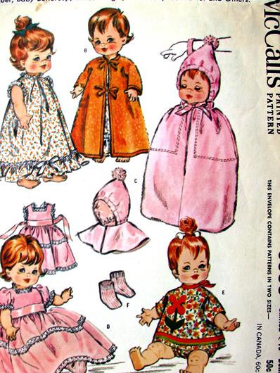 """GREAT VTG 1960s 12/""""-16/"""" DOLL CLOTHING SEWING PATTERN"""