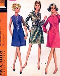 1960s Mod Dress Pattern Three Cute Style Versions McCalls 9523 Vintage Sewing Pattern UNCUT FACTORY FOLDED