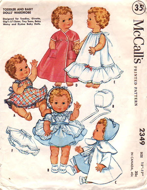 "Vtg Baby Doll Dress Pattern ~ 15/"" 16/"" 17/""  Tiny Tears Betsy Wetsy Dy Dee"