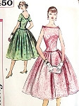 1950s Lovely Cocktail Party Dress Pattern Simplicity 2450 Vintage Sewing Pattern Bateau Neckline Low U Back, Beautiful  Bouffant Skirt  UNCUT FACTORY FOLDED  Bust 34