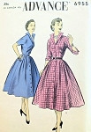 1950s STUNNING Shirt Dress Pattern Striking Wing Collar Advance 6955 Vintage Sewing Pattern Bust 34