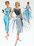 1950s Evening Cocktail Dress Pattern Scalloped Neckline Slim Sheath and Full OverSkirt McCalls 4078 Vintage Sewing Pattern Bust 36