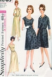 1960s Evening Cocktail Dress Pattern Simplicity 6243 Two Lengths Princess Seam A Line Party Dress and Jacket Perfect For Lace, Sheer Fabrics Vintage Sewing Pattern Bust 37