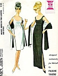 1960s Chic Evening Gown and Stole Pattern Pauline Trigere Empire Low Neckline Cocktail Party Dress McCalls 7521 Vintage Sewing Pattern Bust 31