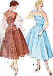 1950s Beautiful Evening Dress Pattern Strapless Version Full Skirt and Cummerbund With Back Bow McCalls 9545 Vintage Sewing Pattern Bust 33