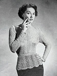 INSTANT PDF PATTERN 1950s Vintage Knitting Crochet Pattern Stunning Lace Over Blouse Peplum Style Vintage Pattern Day or Evening Glam