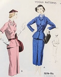 1950s Slim Skirt Suit Pattern Vogue 7578 Vintage Sewing Pattern Fitted Nip in Waist Jacket Pencil Slim Skirt Front Pleat  Bust 32