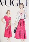 1950s Dress and Bolero Jacket Pattern  Vogue 9211 Vintage Sewing Pattern V Neckline Inverted Pleats Dress Waist Length Fitted V Neck Jacket  Day or After 5 Style Bust 32