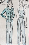 FAB 1940s Ladies Pants, Fitted Jacket and Coveralls Jumper Slacks Pattern ROSIE RIVETER Style Coveralls  Katharine Hepburn Trousers Advance 2994 Vintage Sewing Pattern Bust 32