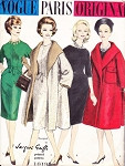 1960 Jacques Griffe Dress and Coat Pattern Classy Slim Skirt Jewel Neckline Dress and Stunning Full Wrap Coat With Cape Collar Vogue Paris Original 1019 Vintage Sewing Pattern Bust 36 + Vogue Label