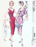 1950s Slim Cocktail Evening Dress,Bolero Jacket and Cummerbund Pattern Bombshell V Neckline Party Dress Flattering Shaped Neckline Jacket McCalls 4442 Vintage Sewing Pattern Bust 34