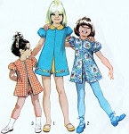 Simplicity 9895 Vintage Sewing Pattern 1970s Girls Jiffy Dress and Pull Up Shorts Pattern Cute Kawaii Styles Size 5 FACTORY FOLDED UNCUT